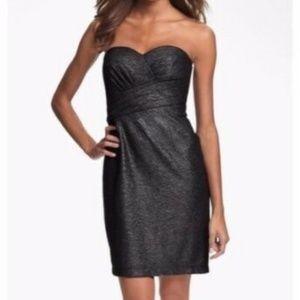 NWT Metallic Silver Strapless Cocktail Midi Dress